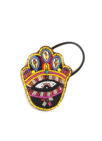 beaded hamsa hand hair bobble