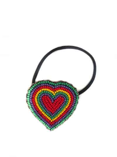 beaded heart hair bobble with colourful beads