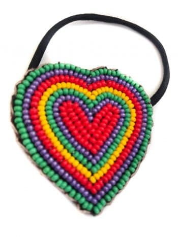 beads in a heart shape on a hair bobble
