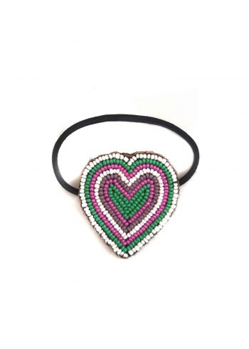 heart shaped beaded hair bobble