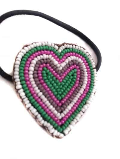 hair bobble in the shape of a beaded heart