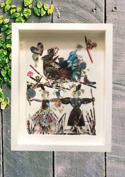 collage of paper cut people and birds