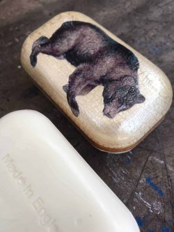 decoupage bear soap