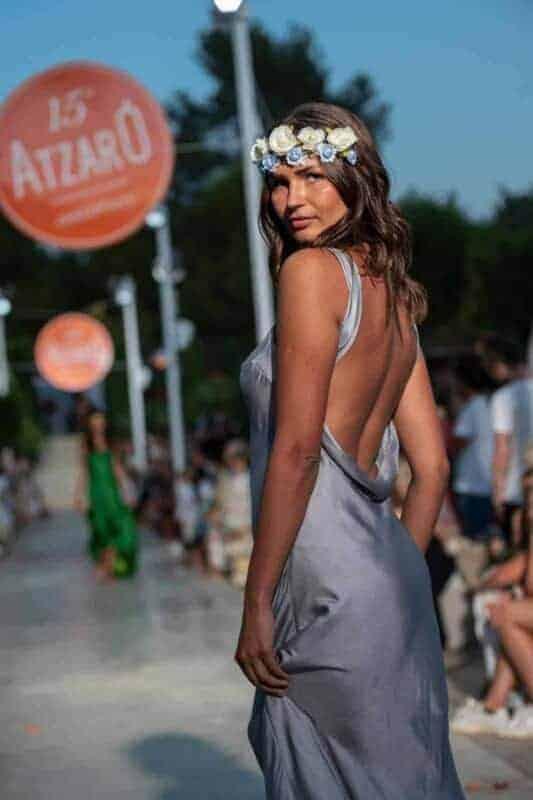 backless silver silk dress
