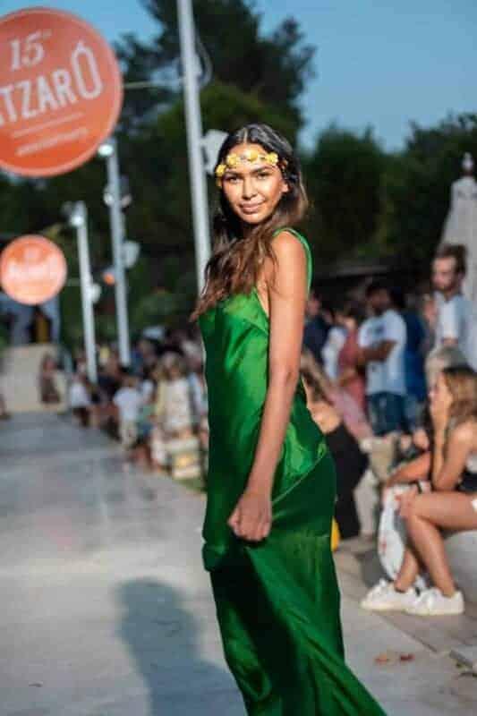 long green silk dress