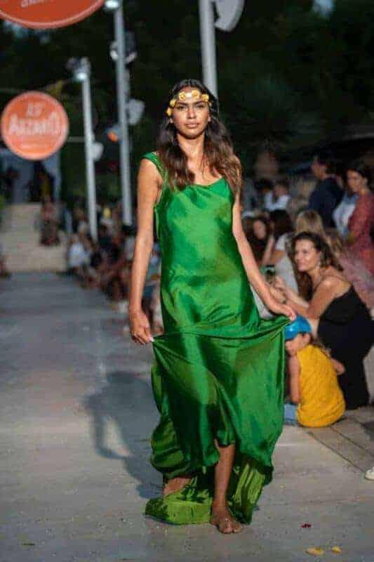 Two tone green silk dress