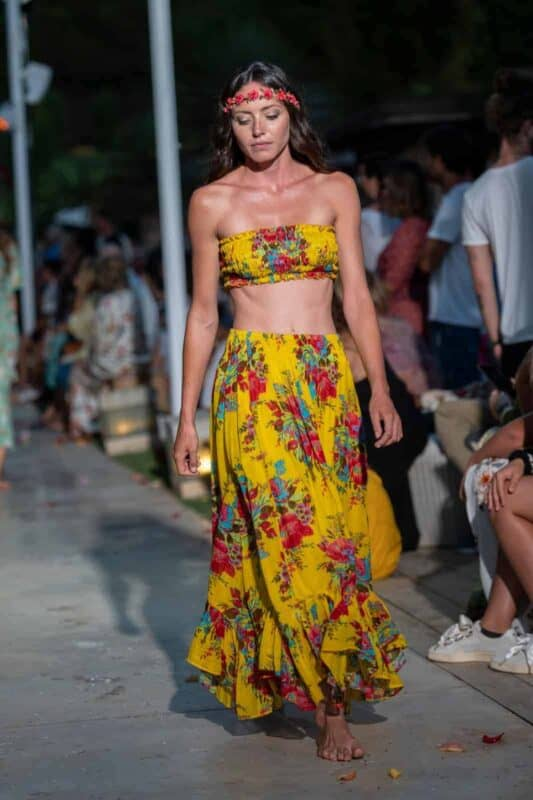 yellow floral skirt with matching boob tube