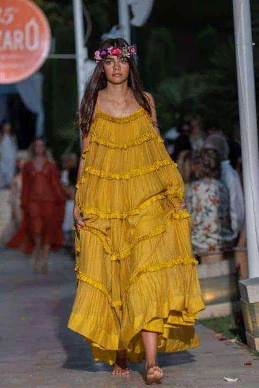 tiered yellow dress