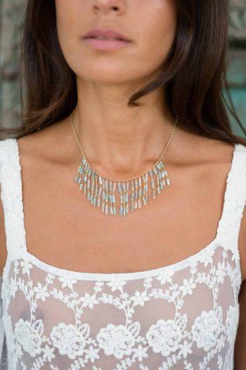 fringe necklace with aquamarine stones