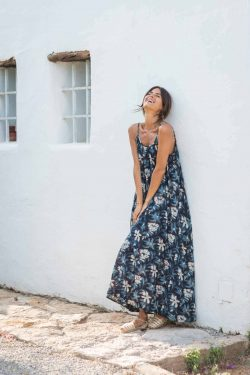 black and blue floral sun dress