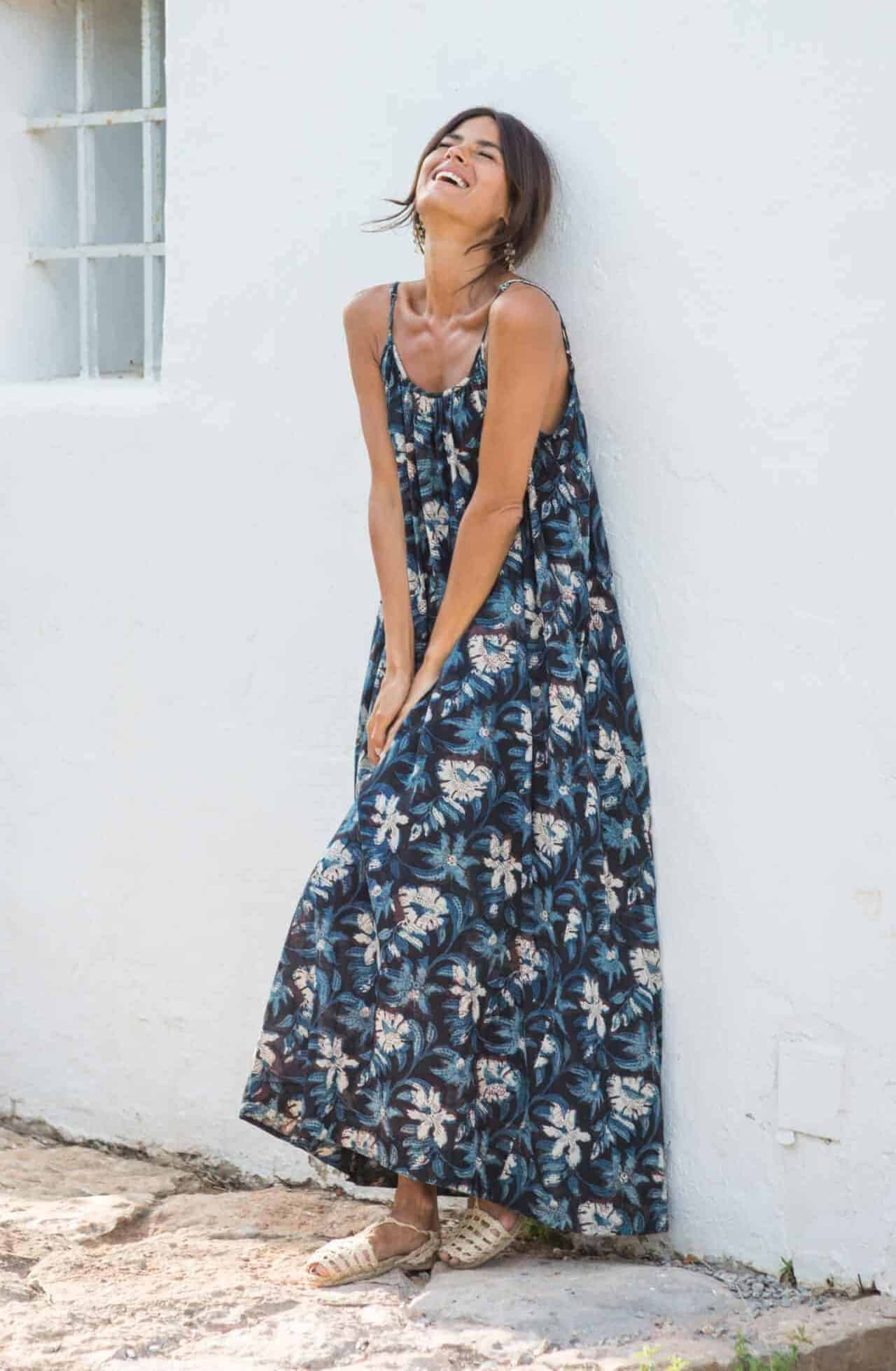 black and blue floral sun dress