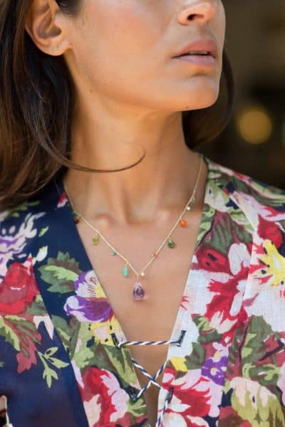 Dainty necklace with an amethyst chunk