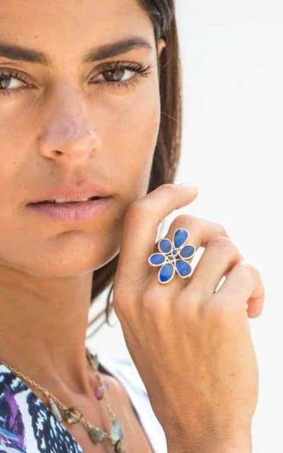 Dark blue opal flower ring