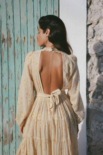 Long sleeved backless dress
