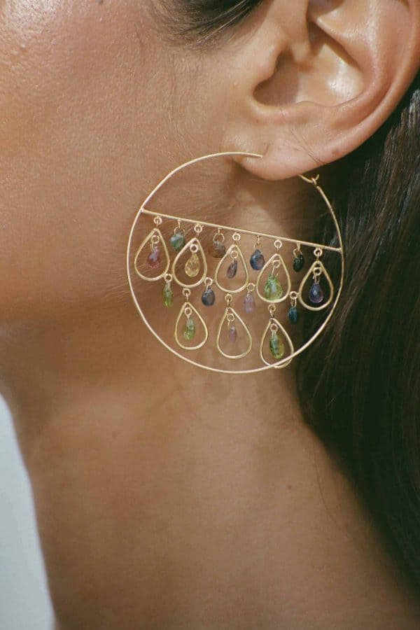 Close up of an earring with gem stones