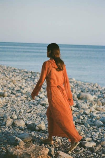 long orange dress with sash