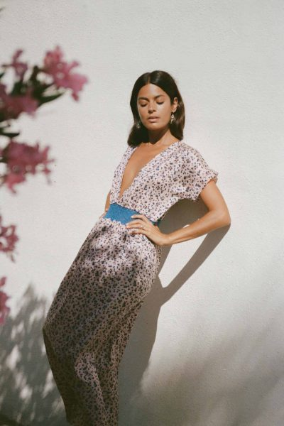 pink and blue floral biba print dress
