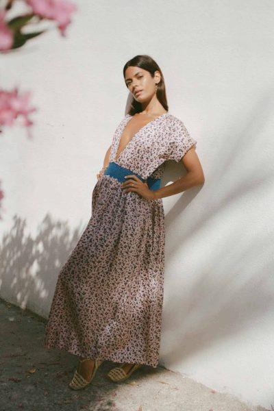 long silk dress in a floral print