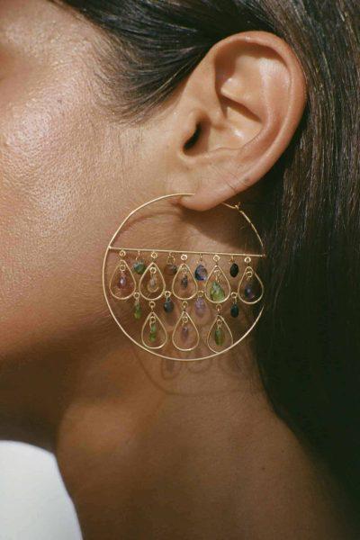 gold hoop earrings with gemstones