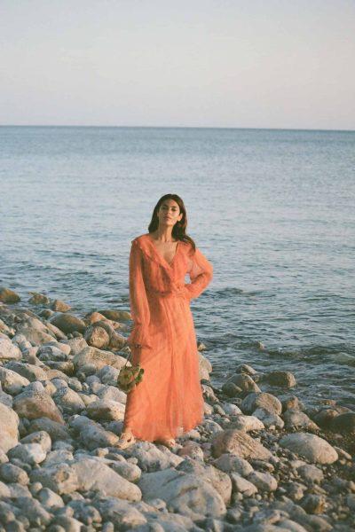 chiffon dress in orange paisley print