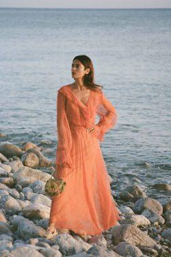 orange paisley chiffon dress with orange slip