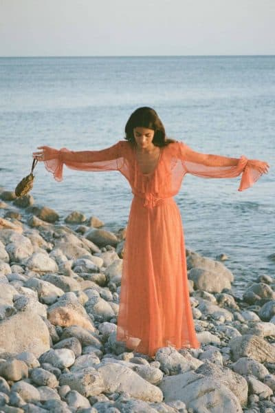 long sleeved chiffon dress in orange