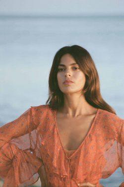 deep v-neck orange dress
