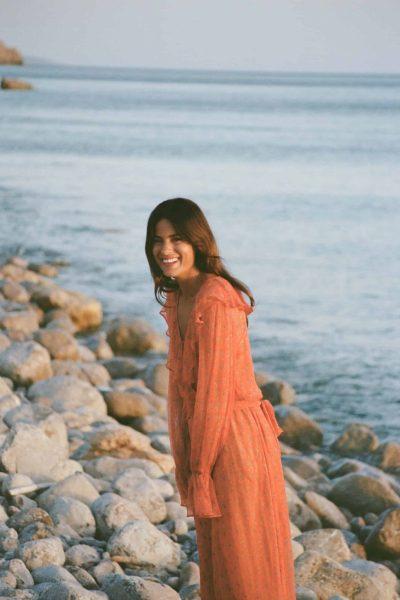 orange dress with blouson sleeves