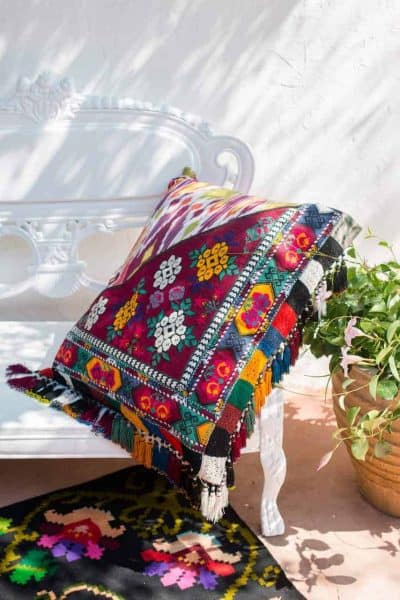 Multi Ikat Tassel Cushion Cover