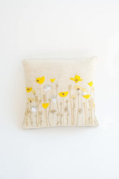 Poppy Cushion Cover in Yellow