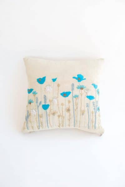 Poppy Cushion Cover in Blue