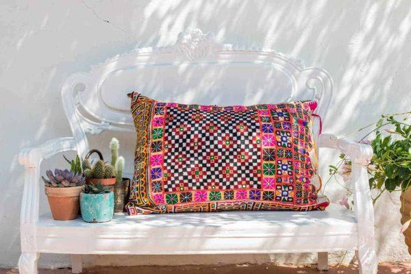 Checked Vintage Rajasthani Fabric Cushion