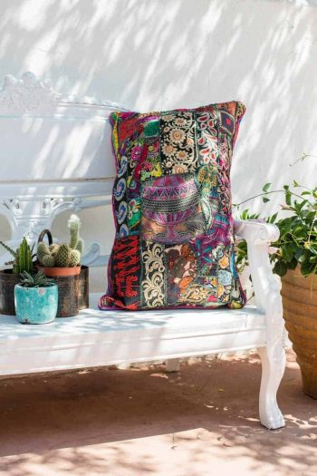 multi patchwork vintage fabric cushion