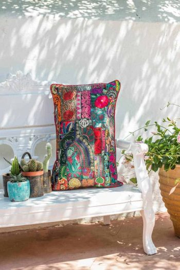 vintage fabric cushion in bright colours