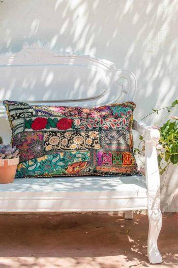 vintage fabric rectangular cushion with roses