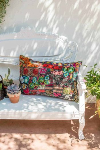 vintage fabric cushion in a rectangular shape