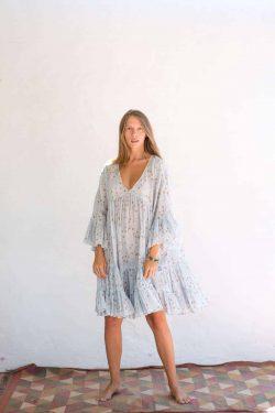 short summer dress in a blue star print