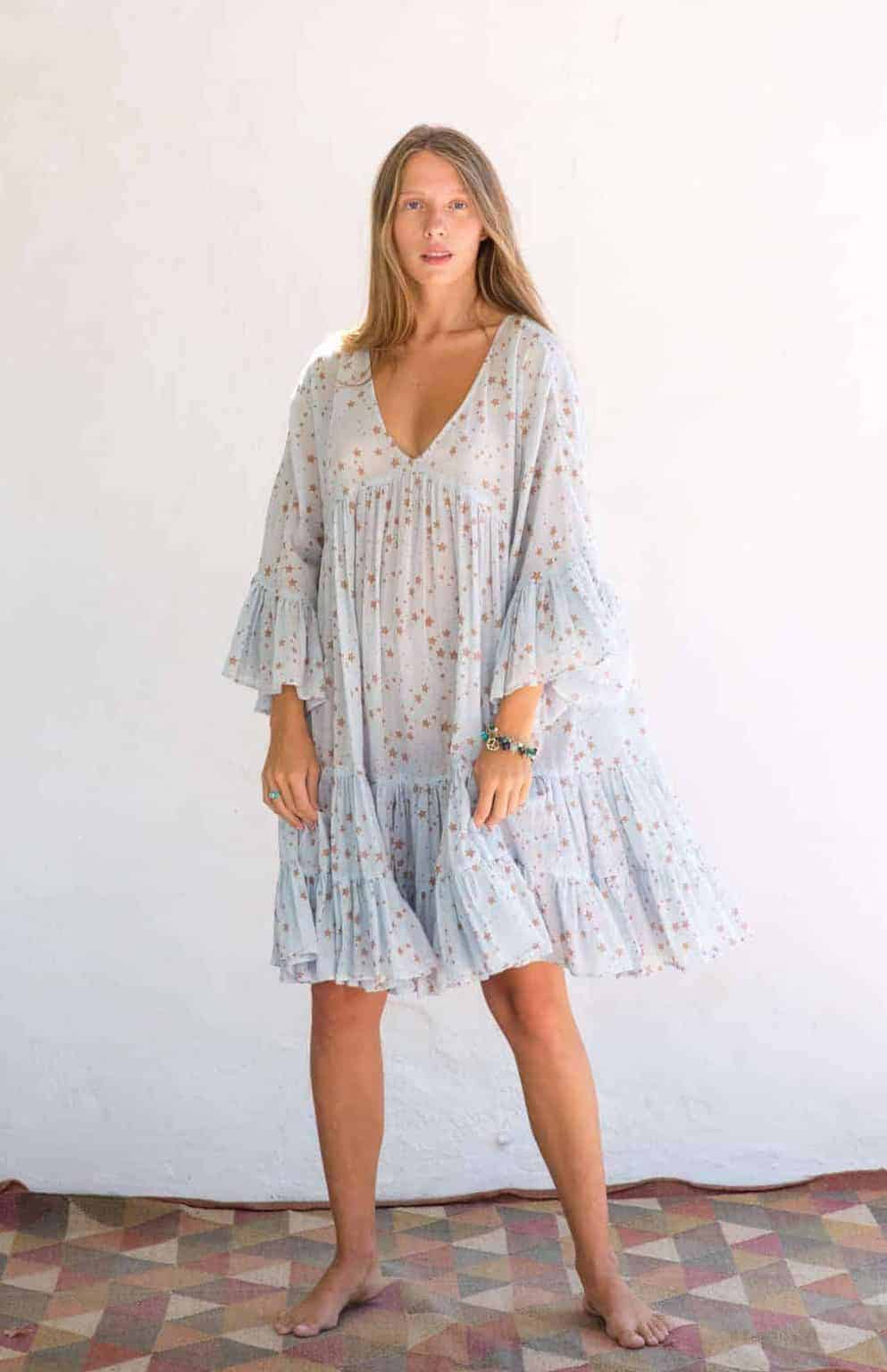 short summer dress in a blue star print