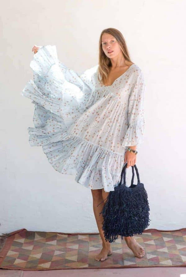 indigo coloured jute bag with wide sleeve cosmic dress