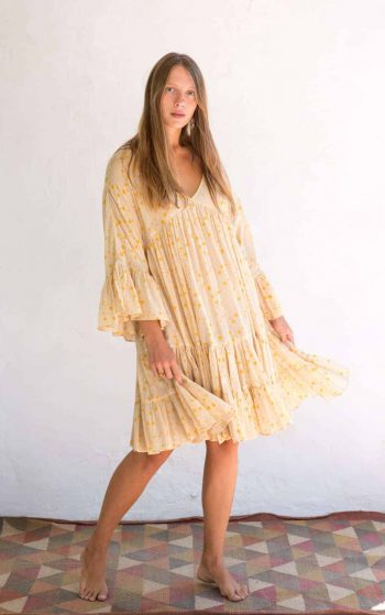 short yellow dress with a star print