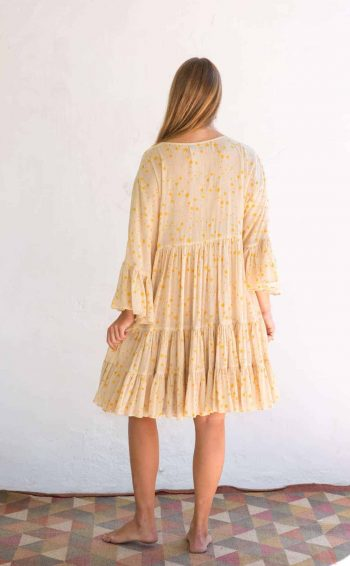 wide sleeve yellow dress