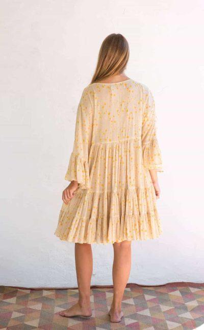 wide sleeve yellow dress