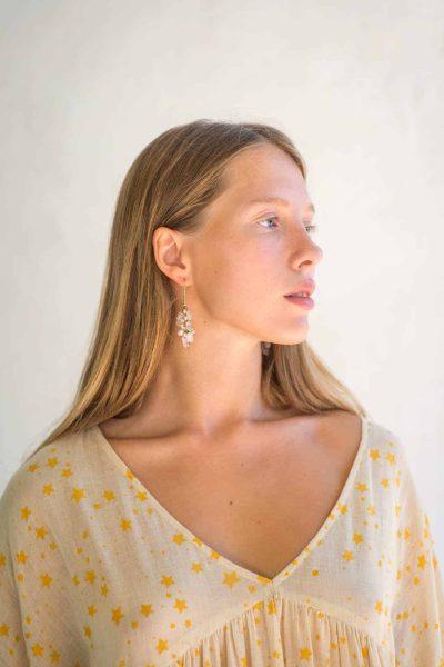 white cluster earrings