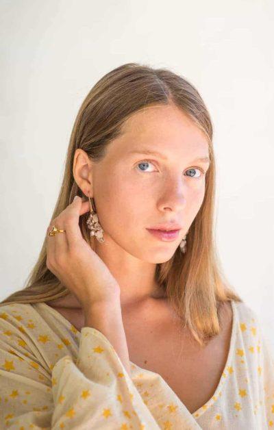 cluster earrings with wide sleeve cosmic dress