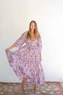 pink and grey paisley cotton dress
