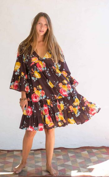 short brown dress with a floral print
