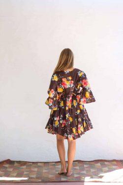 wide sleeve brown floral dress