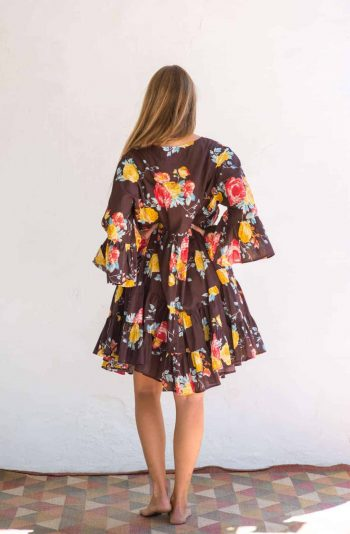 wide sleeve brown floral dress