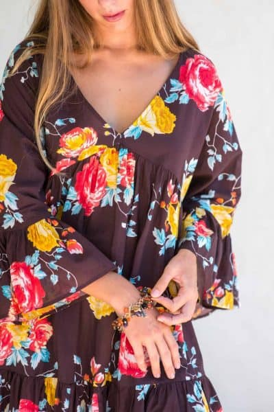 brown dress with a pretty flower print