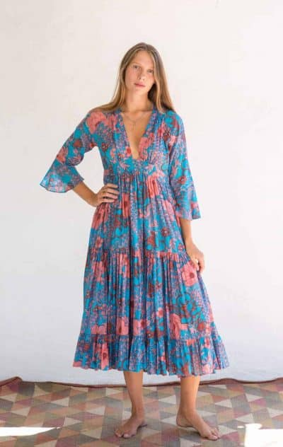 turquoise floral dress in cotton with a full skirt